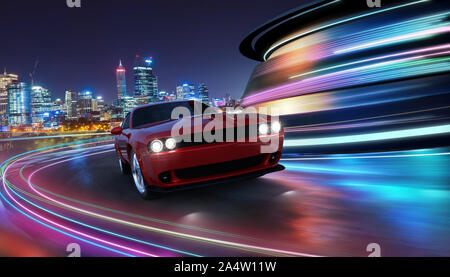 HIgh speed generic red sports car driving in the city with neon light motion effect applied . Automobile futuristic technology concept . 3D rendering