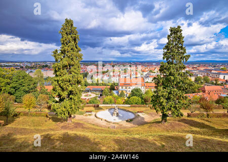 Bamberg. Scenic town of Bamberg rooftops view from Michaelsberg hill, Upper Franconia, Bavaria region of Germany - Stock Photo