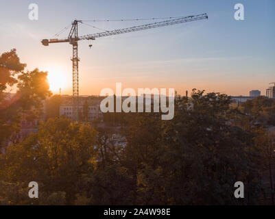 construction building site crane on sunset