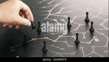 Hand moving pawn on a conceptual labyrinth. Shortcut from point A to B or career guidance concept. Composite image between a hand photography and a 3D