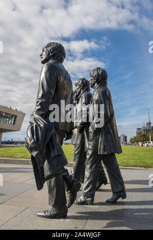 The Beatles statue, Pier Head, Liverpool, England, United Kingdom - Stock Photo
