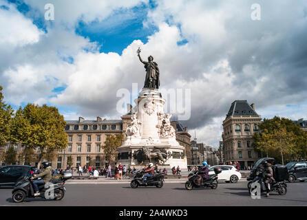Paris, France - 3rd October, 2019:  Traffic driving by  Place de la République in central Paris - Stock Photo