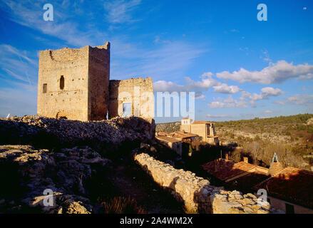 Castle at dusk. Calatañazor, Soria province, Castilla Leon, Spain. - Stock Photo