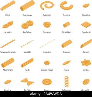 Fusilli pasta icons set, isometric style - Stock Photo