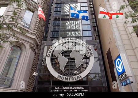 Entrance to the World Trade Centre or Centre de Commerce Mondial, Montreal, Quebec, Canada - Stock Photo