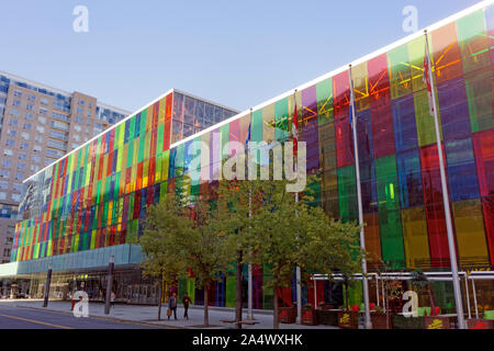 The colorful Palais des Congres de Montreal or Montreal Convention Centre in Montreal, Quebec, Canada - Stock Photo