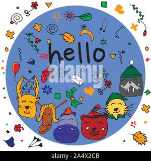 Colorful animal friends collection including walrus, hippo,goat,cat,deer,bear.Cute hand drawn doodles.Good for posters, stickers, cards, alphabet and - Stock Photo