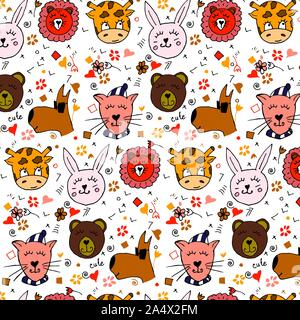 Colorful animal friends collection including dog, cat, giraffe, bear, lion, rabbit.Cute hand drawn doodles.Good for posters, stickers, cards, alphabet - Stock Photo