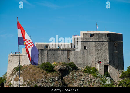 Dubrovnic (Croatia): Fort Lovrijenac in as seen from the city wall. Fort Lovrijenac or St. Lawrence Fortress, often called 'Dubrovnik's Gibraltar', is - Stock Photo