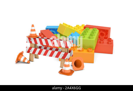 3d rendering of a striped roadblock sign beside several traffic cones standing in front of a colorful lego blocks pile. - Stock Photo