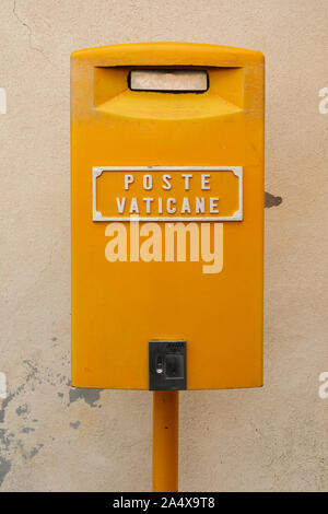 Yellow Poste Vaticane mailbox in Vatican City State - Stock Photo