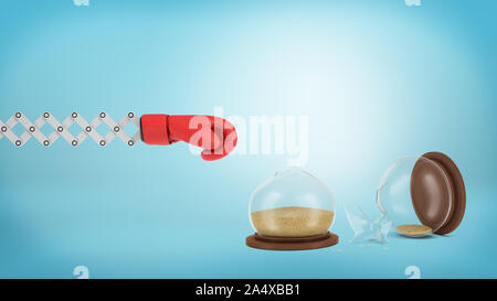 3d rendering of a red boxing glove on a metal extending arm near a broken hourglass on a blue background. - Stock Photo