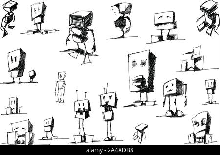many hand drawn sketches and drawings of funny cartoon robots and androids - Stock Photo