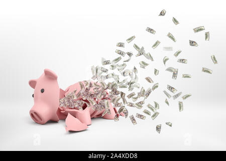 3d rendering of a pink broken piggy bank lying on a white background with many dollar banknotes flying out of it.