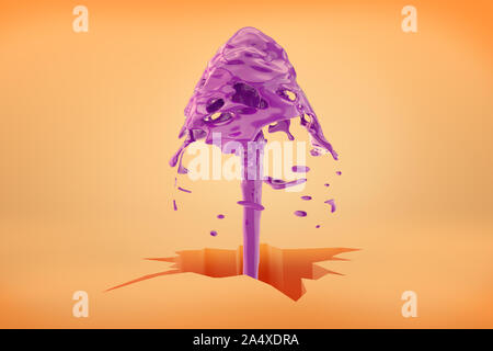 3d rendering of a big crack in the earth on a bright orange background with a purple water fountain getting out of it. Natural resources. Unearthly la - Stock Photo