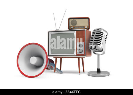 3d rendering of several isolated pieces of vintage equipment: a megaphone, a TV set, a radio and a microphone. - Stock Photo
