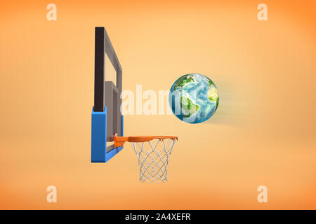 3d rendering of realistic ball looking like an Earth globe flies ready to fall inside a basketball hoop. - Stock Photo