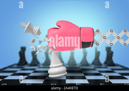 3d rendering of large boxing glove on a metal bracket hits and breaks a white chess king on a board. - Stock Photo
