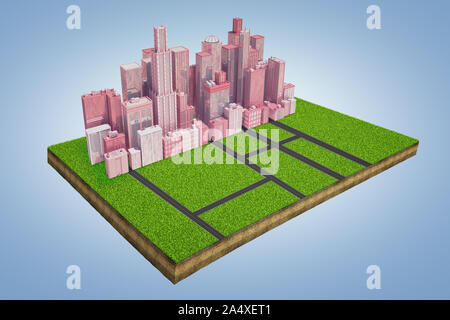 3d rendering of a model of a land plot with a cluster of tall business buildings standing near an intersection of roads. - Stock Photo