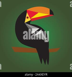 Cute toucan vector cartoon illustration. Wild zoo animal character. Adorable bird fauna childish characters. Simple flat design element for kids - Stock Photo