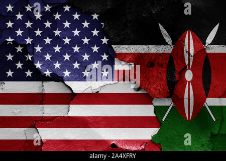 flags of USA and Kenya painted on cracked wall - Stock Photo