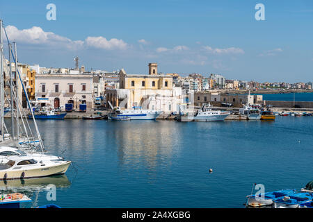 View across harbour to Chiesa di Santa Maria del Canneto (Church of Saint Mary) in Gallipoli, Apulia (Puglia) in Southern Italy - Stock Photo