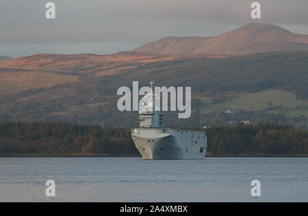 FS Tonnerre (L9014), a Mistral-class amphibious assault ship operated by the French Navy, at anchor off Greenock after Exercise Griffin Strike 2019. - Stock Photo