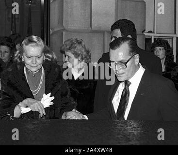 Washington DC, USA, February 18, 1984Jack Kelly (Grace Kelly's Brother) on the right with Grace's older sister Margaret Conlan on the left at car leaving the Princess Grace Foundation gala hosted by President Reagan Credit: Mark Reinstein / MediaPunch - Stock Photo