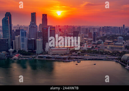 Downtown Singapore at sunset. Viewed from the top of the Marina Bay Sands Hotel, Singapore.