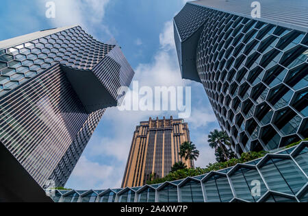 Skyscrapers in Singapore viewed from Beach Road, Singapore - Stock Photo