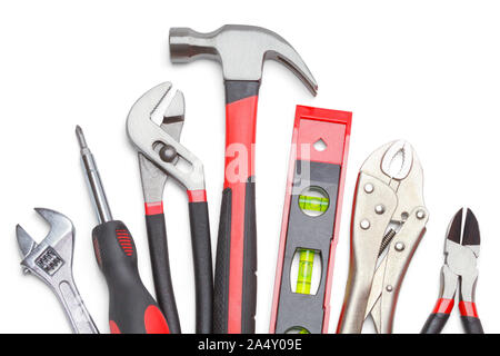 Work Hand Tools Isolated on White Background. - Stock Photo