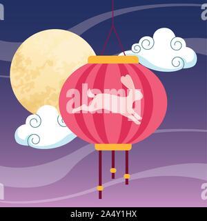 chinese lantern and moon design - Stock Photo