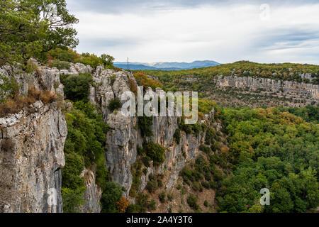 Landscape view around the village Casteljau in Ardeche, France - Stock Photo