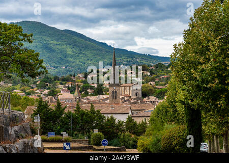 View of the village Les Vans in Ardeche, France - Stock Photo