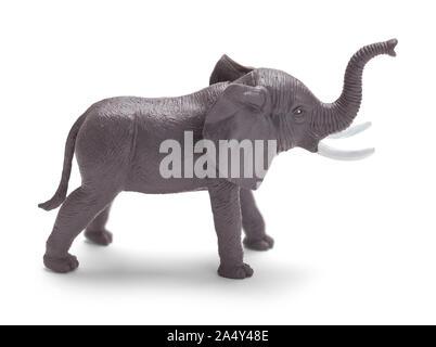 Grey Toy Plastic Elephant Isolated on White Background. - Stock Photo