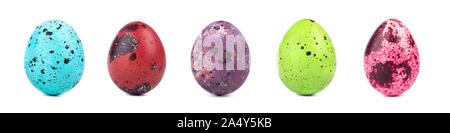 Set of same size colored quail easter eggs isolated on white background. Easter concept - Stock Photo