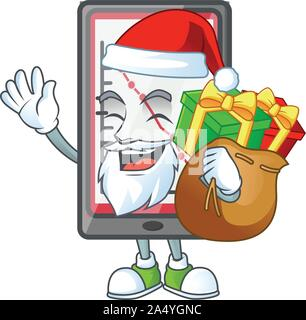 Santa with gift down chart vertical tablet with mascot - Stock Photo