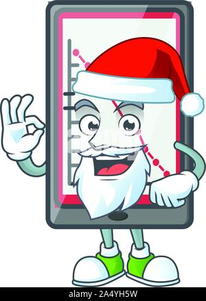 Santa down chart vertical tablet with mascot - Stock Photo