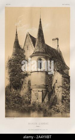 Architecture Pittoresque ou Monuments des XVeme. Et XVIeme. Siecles: Chateaux de France des XV et XVI Siecles: Pl. 98, Manoir dAnsac (Corrèze), 1860. - Stock Photo