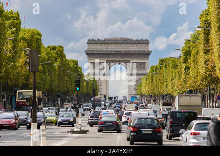 Traffic in the vicinity of the Arc de Triomphe in Paris. France. September 1, 2017
