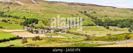 Panoramic view of Gunnerside, Swaledale, Yorkshire - Stock Photo
