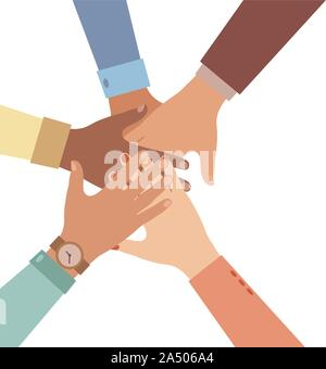 Hands of diverse group of people putting together. Concept of cooperation, unity, togetherness, partnership, agreement, teamwork, social community or - Stock Photo