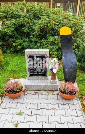 Ceminy, Czech Republic - Oct 17, 2019: Memorial dedicated to crew of bomber aircraft B-17G that was shot down during the Second World War. US Air Force. Memorial text in Czech and names of victims. - Stock Photo