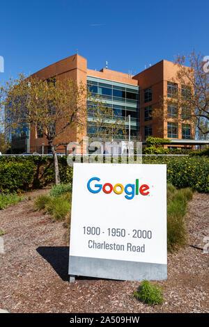 Mountain View, California – April 10, 2019: Google headquarters HQ in Mountain View, California. - Stock Photo