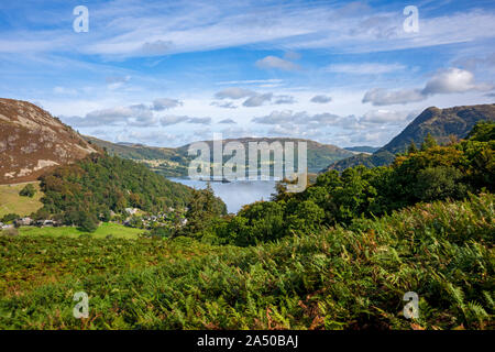 View from Birkhouse Moor to Ullswater and Gowbarrow Fell in summer near Glenridding Lake District National Park Cumbria England UK United Kingdom GB - Stock Photo