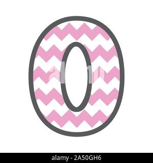 0 Zero Chevron Number w colorful pink and white pattern and grey border - Stock Photo