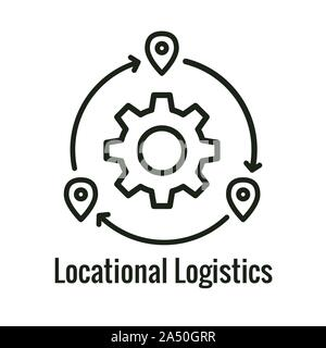 Logistics icon showing movement from 1 place to the next - Stock Photo