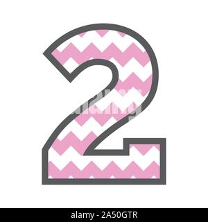 2 Two Chevron Number w colorful pink and white pattern and grey border - Stock Photo