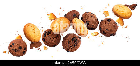 Falling broken chip cookies isolated on white background with clipping path, flying biscuits - Stock Photo