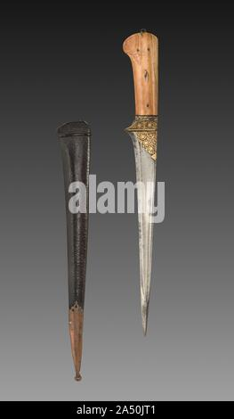 Dagger with Brown Leather Case, 1700s-1800s. - Stock Photo